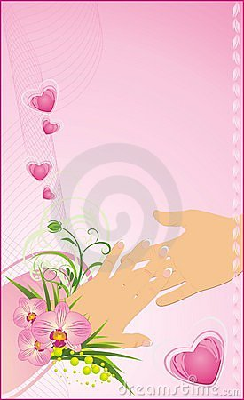 Womanish and masculine hands. Romantic background