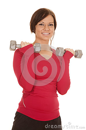 Free Womanpink Sports Shirt Arms Up Smile Royalty Free Stock Image - 34003016