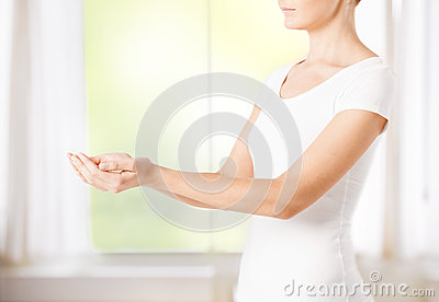 Womans cupped hands