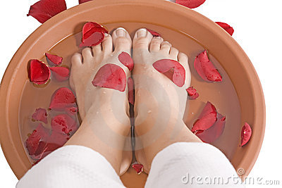 Womans feet in rose petals