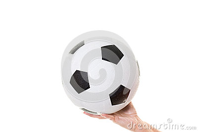 Womans hand holding soccer ball