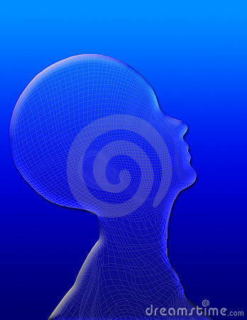 Womans head on blue