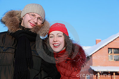Womant and man in glasses at winter