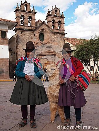 Women with alpaca in Peru Editorial Photo