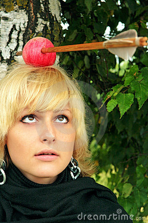 Women with the arrowed apple on the head