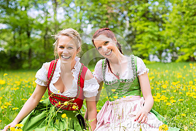 Women in Bavarian clothes or dirndl on a meadow