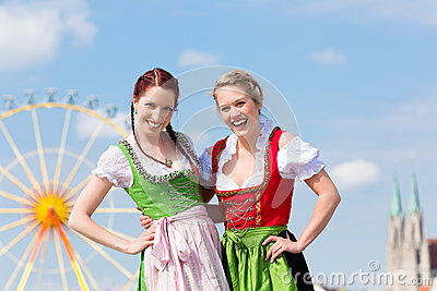 Women with  Bavarian dirndl on fesival