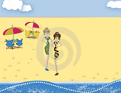 Cartoon Fashion Women on Beach