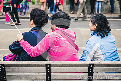 Women On Bench Taking Selfie Free Public Domain Cc0 Image