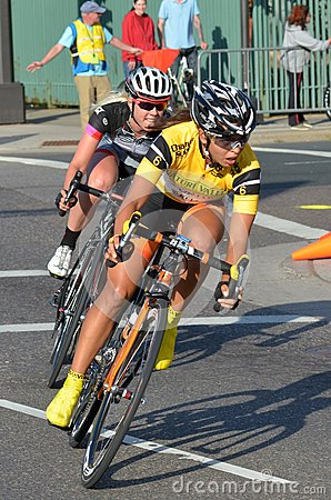 Women Bicycle Criterium Racers A Editorial Stock Image