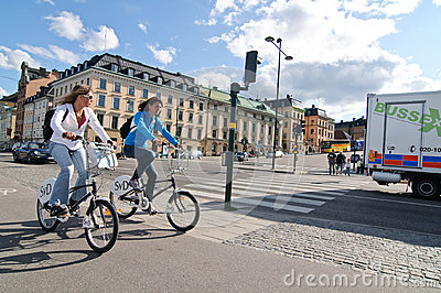 Women biking in Stockholm Editorial Photography