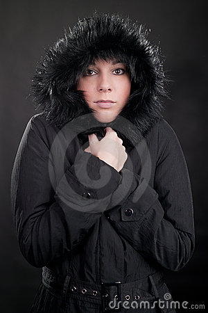 Women with black coat and hood