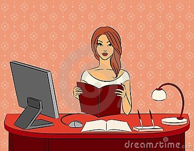 Women with book in office.