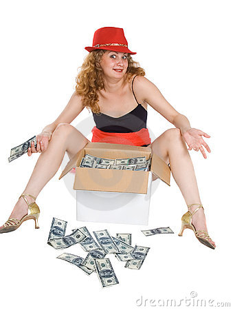 The women and a box with money