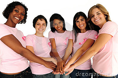 Women with breast cancer awareness ribbon