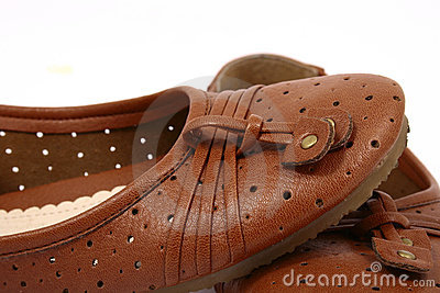 Women brown shoes isolated