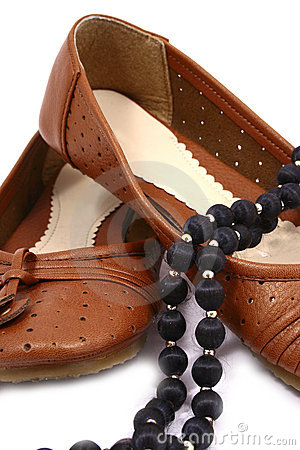Women brown shoes isolated on