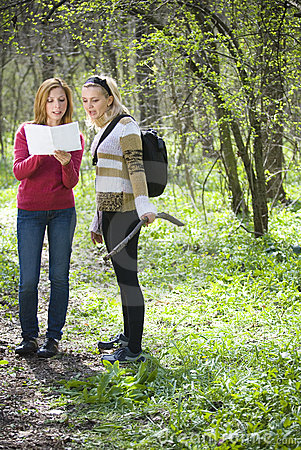 Women Checking Map