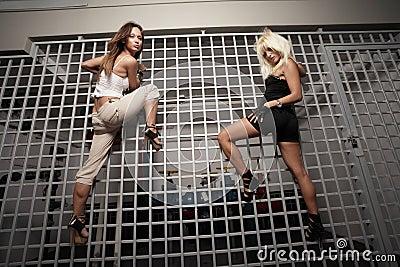 Women climbing
