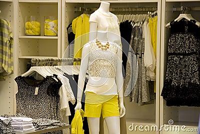 Stylish woman clothing fashion store