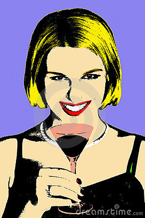 Women with coctail glass in pop-art