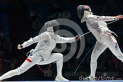 Women compete on championship of world in fencing Editorial Stock Image