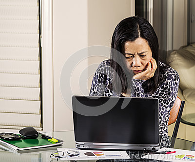Women confused from information on computer