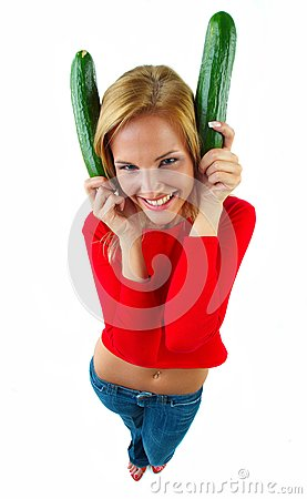 Women and cucumber