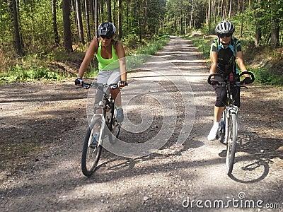 Women cycling in woods
