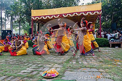 Women dancers performing in Holi celebration, India Editorial Stock Photo