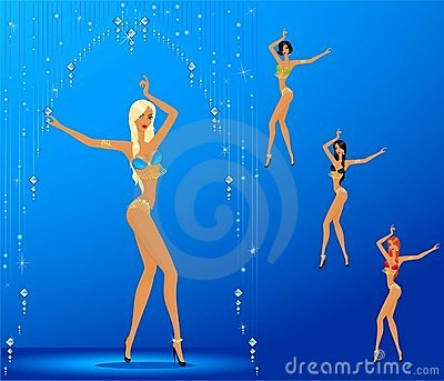 Women dancing a striptease