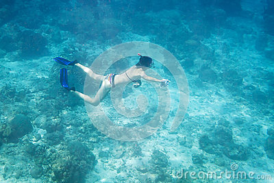 Women diving underwater in Andaman Sea Editorial Stock Image