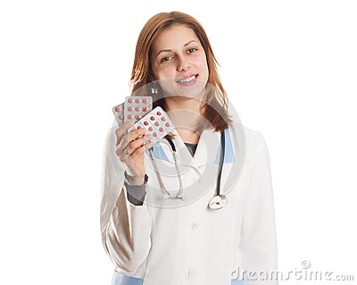 Women exists doctor holding a blister of pills