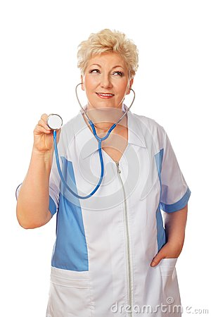 Women doctor with stethoscope looks to right