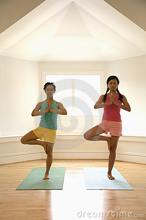 Women doing balance pose