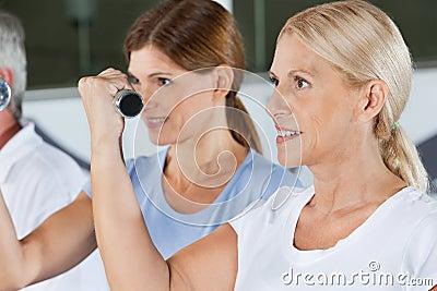 Women doing dumbbell training