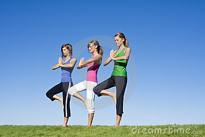 Women doing morning Yoga and Exercise