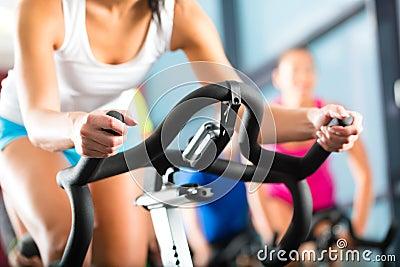 Women doing sport spinning