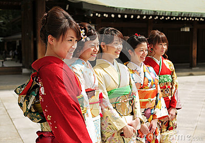 Women Dressed in Kimono Editorial Stock Photo