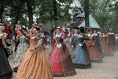 Women dressed in medieval costumes Editorial Stock Photo