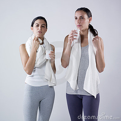 Women drinking  after effort