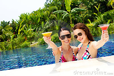 Women with drinks outdoor