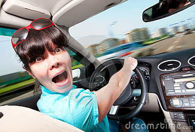 Women driving a car