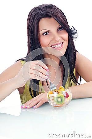 Women eathin fruits