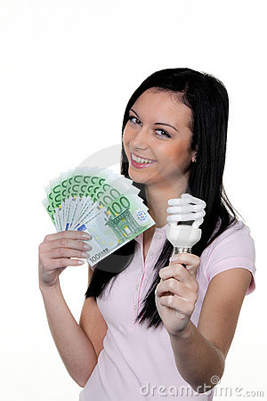 Women with energy-saving lamp. Energy lamp