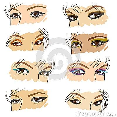 Women eyes set, vector