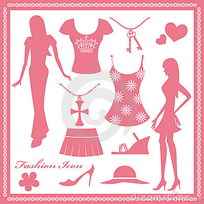 Women fashion icons set