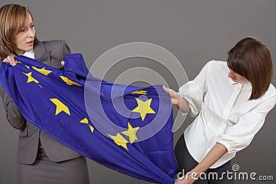 Women fighting over european flag