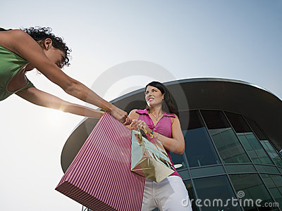 Women fighting for shopping bag