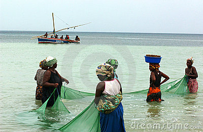 Women  fishing in mosambique Editorial Photo